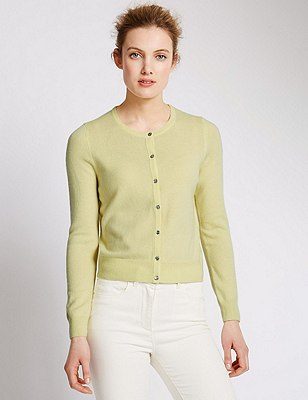 Pure Cashmere Cropped Cardigan, SOFT YELLOW, catlanding