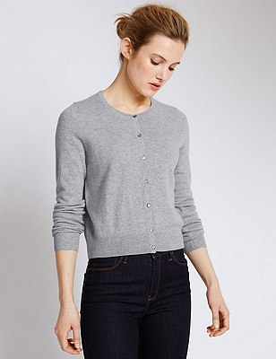 Pure Cashmere Cropped Cardigan, SILVER GREY, catlanding