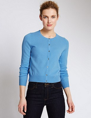 Pure Cashmere Cropped Cardigan, SKY BLUE, catlanding