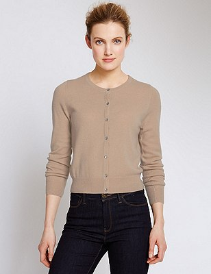 Pure Cashmere Cropped Cardigan, SAND, catlanding