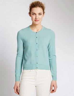 Pure Cashmere Cropped Cardigan, MINT, catlanding