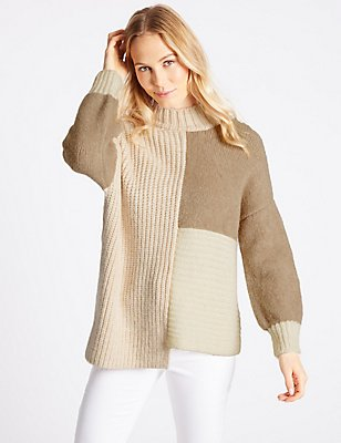 Colour Block Turtle Neck Jumper , NEUTRAL, catlanding