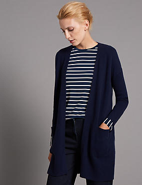 Pure Cashmere Open Front Oversized Cardigan, NAVY, catlanding