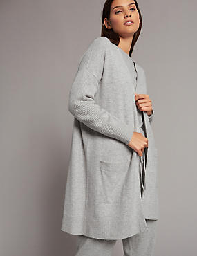 Pure Cashmere Open Front Oversized Cardigan, SILVER GREY, catlanding