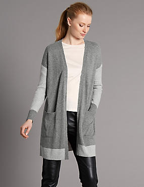 Pure Cashmere Open Front 2 Pocket Cardigan, GREY MIX, catlanding