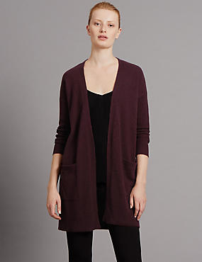 Pure Cashmere Open Front Oversized Cardigan, BURGUNDY, catlanding