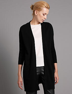 Pure Cashmere Longline Twin Pocket Cardigan, BLACK, catlanding