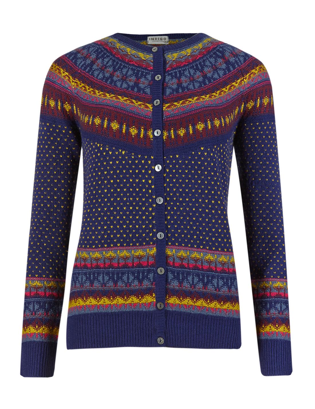 Long Sleeve Fair Isle Cardigan with Wool | M&S