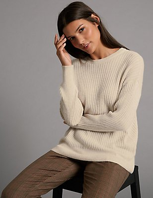 Pure Cashmere Ribbed Round Neck Jumper, OATMEAL, catlanding