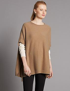 Jersey estilo poncho 100% cashmere con cuello redondo, CAMEL OSCURO, catlanding