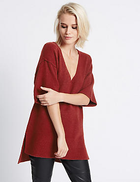 Oversized Half Sleeve Tunic, BERRY, catlanding