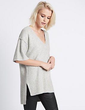 Oversized Half Sleeve Tunic, LIGHT GREY MIX, catlanding