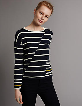 Pure Cashmere Striped Jumper, NAVY MIX, catlanding