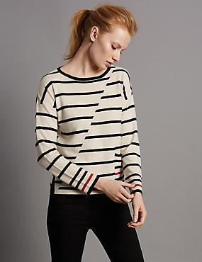 Pure Cashmere Striped Jumper, CREAM MIX, catlanding