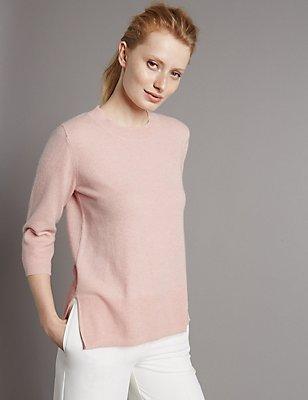 Pure Cashmere 3/4 Sleeve Jumper, BLUSH, catlanding