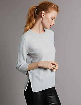 Pure Cashmere 3/4 Sleeve Jumper, SILVER GREY, catlanding