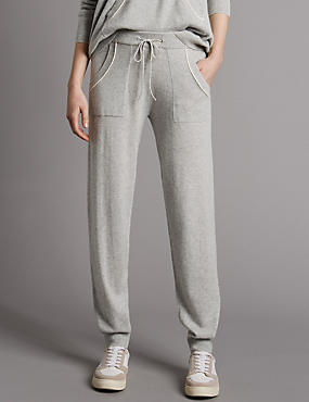 Pure Cashmere Contrasting Edge Joggers, SILVER GREY, catlanding