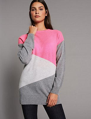 Pure Cashmere Colour Block Longline Jumper, GREY MIX, catlanding