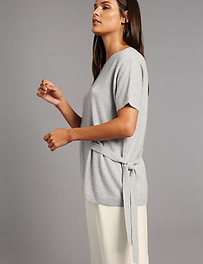 Pure Cashmere Side Tie Short Sleeve Jumper, SILVER GREY, catlanding