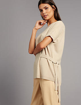 Pure Cashmere Side Tie Short Sleeve Jumper, DARK CAMEL, catlanding