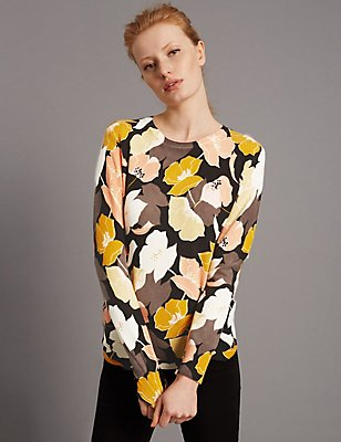 Pure Cashmere Floral Print Ribbed Jumper, MULTI, catlanding