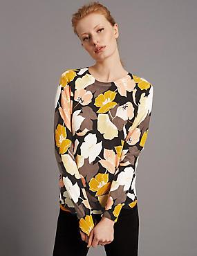 Geribbelde trui van zuiver kasjmier met bloemmotief, MULTI, catlanding