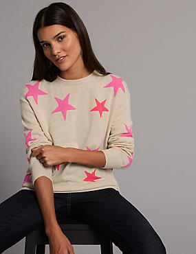 Pure Cashmere Oversized Star Jumper, MULTI, catlanding