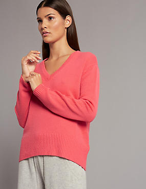 Pure Cashmere Bow Back V-Neck Jumper, PINK MIX, catlanding