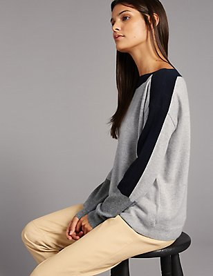 Pure Cashmere Colour Block Jumper, GREY MIX, catlanding