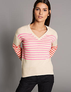 Pure Cashmere Striped Bow Back V-Neck Jumper, OATMEAL MIX, catlanding