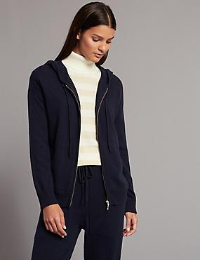 Pure Cashmere Hooded Jumper, DARK NAVY, catlanding