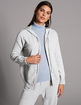 Pure Cashmere Hooded Jumper, GREY MARL, catlanding