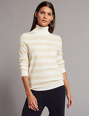 Cashmere Rich Striped Roll Neck Jumper, CREAM MIX, catlanding