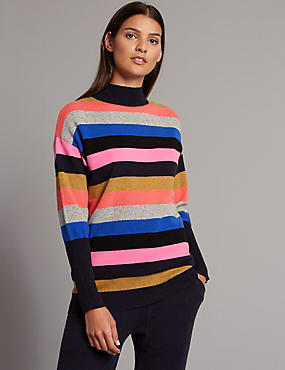Cashmere Rich Colour Block Turtle Neck Jumper, MULTI, catlanding