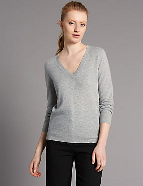 Pure Cashmere Ribbed Hem V-Neck Jumper, MEDIUM SLATE, catlanding