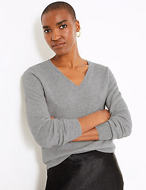 Pure Cashmere Ribbed Hem V-Neck Jumper, SILVER GREY, catlanding