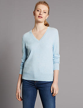 Pure Cashmere V-Neck Jumper, FRESH BLUE, catlanding