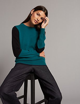 Pure Cashmere Colour Block Round Neck Jumper, BLUE MIX, catlanding