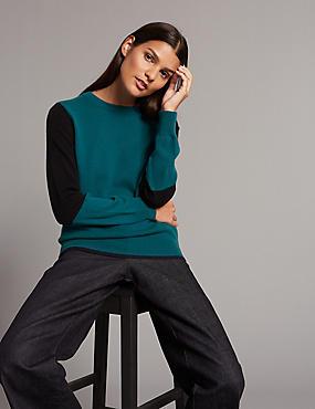 Pure Cashmere Colour Block Round Neck Jumper, BLUE MIX, catlanding