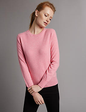 Pure Cashmere Ribbed Round Neck Jumper, PINK, catlanding