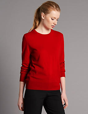Pure Cashmere Ribbed Round Neck Jumper, BRIGHT RED, catlanding