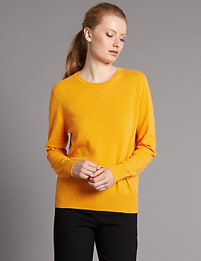 Pure Cashmere Ribbed Round Neck Jumper, ORANGE SQUASH, catlanding