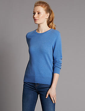 Pure Cashmere Ribbed Round Neck Jumper, CORNFLOWER, catlanding