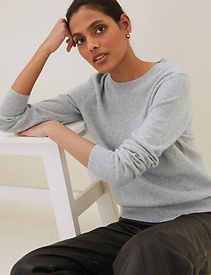 Pullover aus reinem Kaschmir mit geripptem Rundhalsausschnitt, SILBERGRAU, catlanding