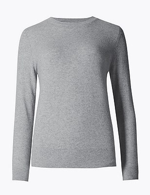 Pure Cashmere Ribbed Round Neck Jumper | Marks & Spencer London