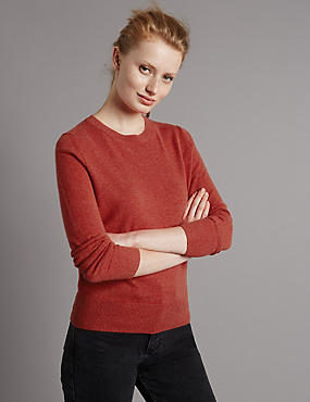 Pure Cashmere Ribbed Round Neck Jumper, BURNT ORANGE, catlanding
