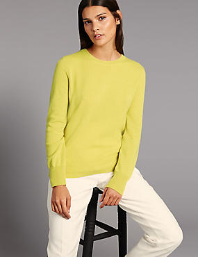Pure Cashmere Ribbed Round Neck Jumper, CHARTREUSE, catlanding