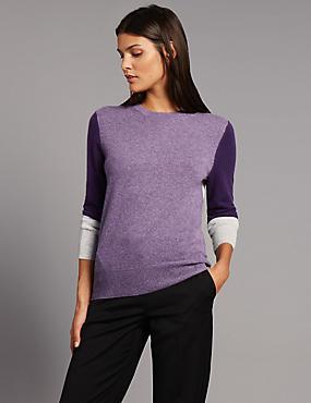 Pure Cashmere Colour Block Jumper, GRAPE MIX, catlanding