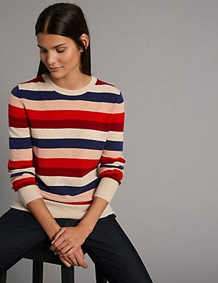 Pure Cashmere Striped Round Neck Jumper, MULTI, catlanding