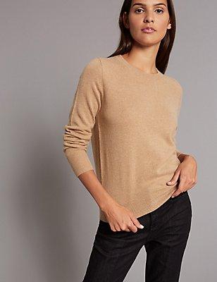 Pullover aus reinem Kaschmir mit rundem Ausschnitt, KAMEL, catlanding